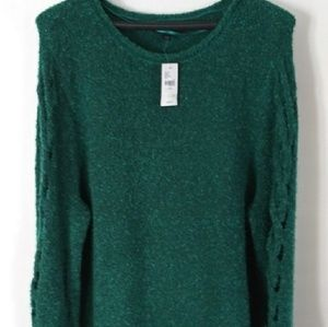 LANE BRYANT BOUCLE EMERALD GREEN SWEATER 22/24